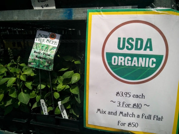 Sow True Seed sells USDA organic plant starts that grown from there own seed.