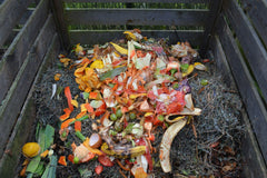 Compost scraps in a compost pile
