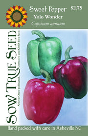 "Sweet Pepper seeds - Yolo Wonder : Large fruit with some mosaic resistance grows 4"" bell peppers ripens green to red."