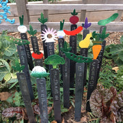 Metal garden stakes for veggies, herbs, and flowers are unique and durable.
