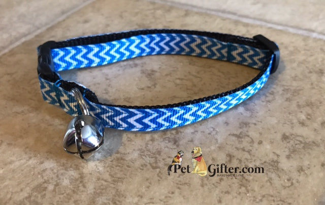 Cat Collar - Blue Chevron