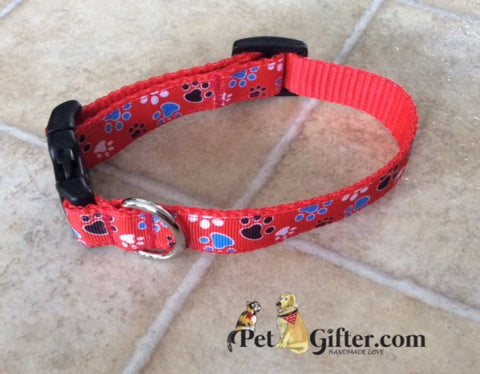 Small Collar - Red Paws