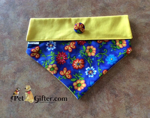 Bandana - Blue & Yellow Flowers