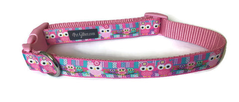 Dog Collar - Pink Owls