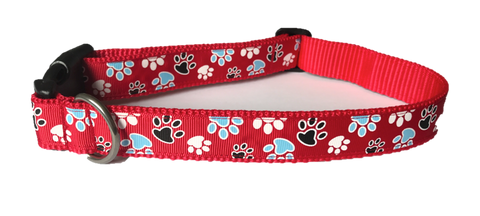 Dog Collar - Red Paws