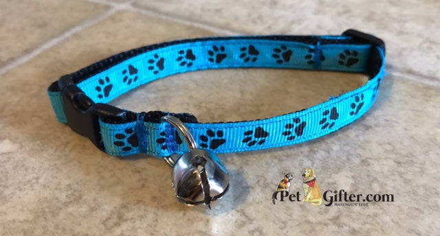 Cat Collar - Turquoise Paws
