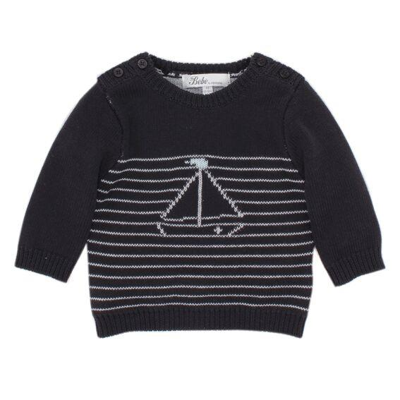 Tobias Novelty Stripe Jumper Graphite