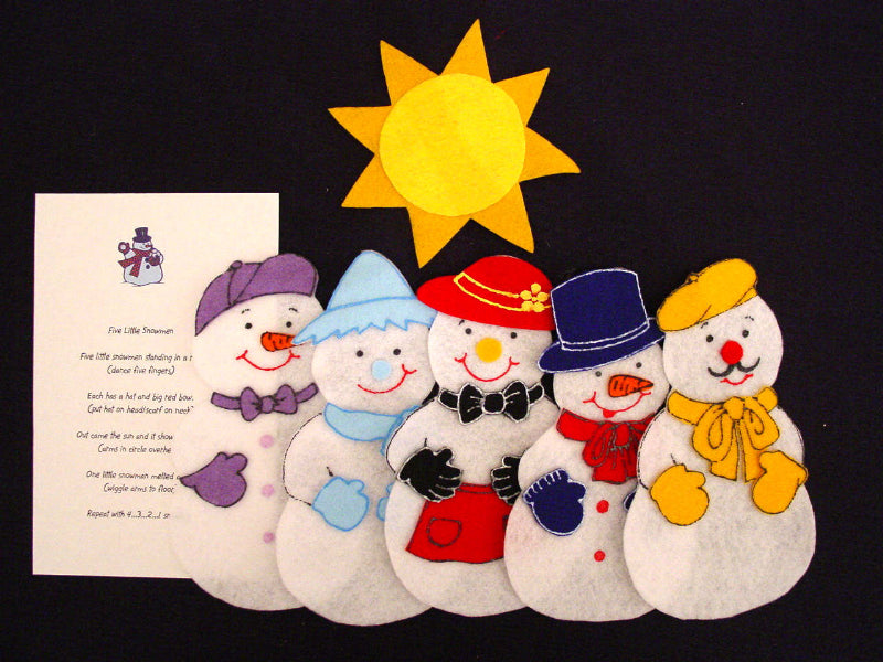 Five Little Snowmen 6 pc Flannel Felt Story + rhym