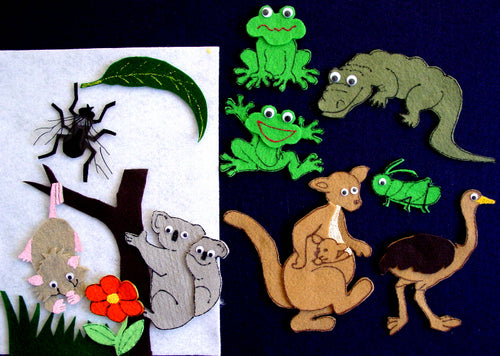 Big Wide-Mouthed Frog 13-pc flannel felt Story