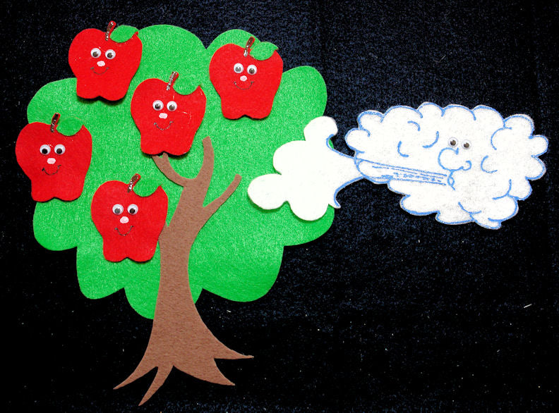 Five Red Apples Flannel Felt Set
