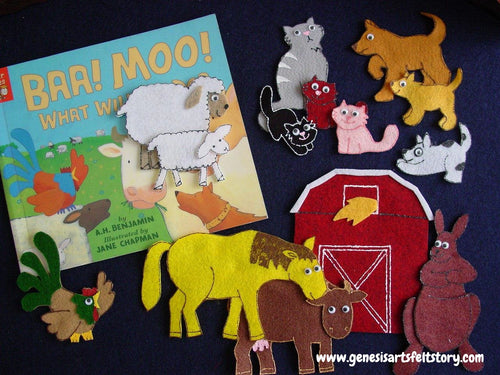 Baa Moo What Will We Do 14 pc Flannel Felt Board Story