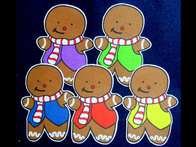 Five Little Gingerbread Men 5-pc flannel felt set