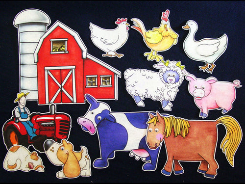 Old MacDonald Had a Farm 11-pc Flannel Board Felt