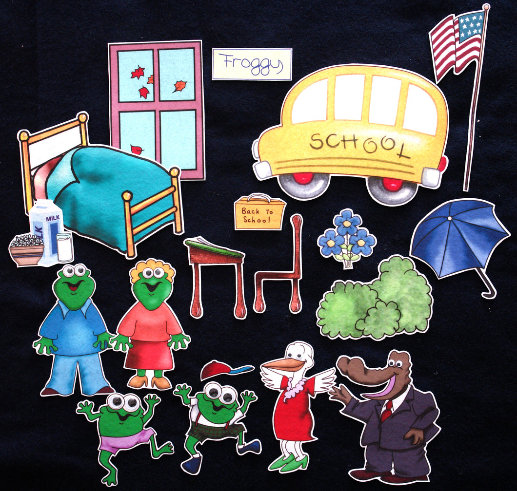 Froggy Goes to School 19-pc Flannel Felt Story