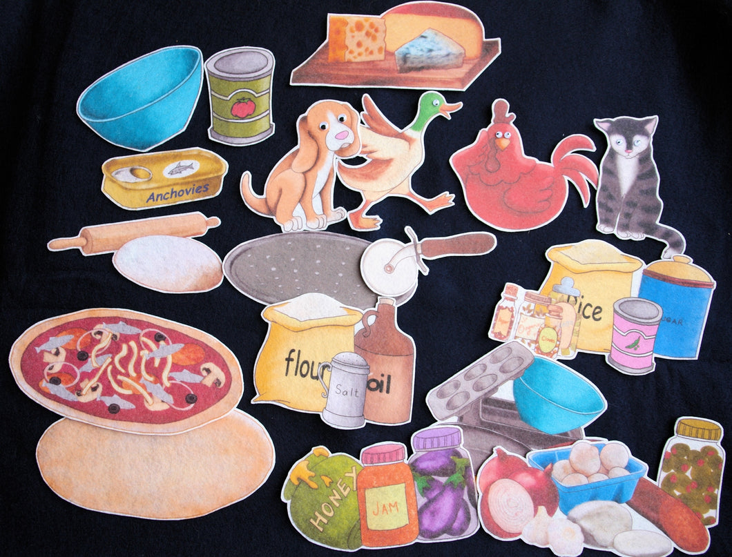 Little Red Hen Makes a Pizza 18-pc Flannel Felt Story