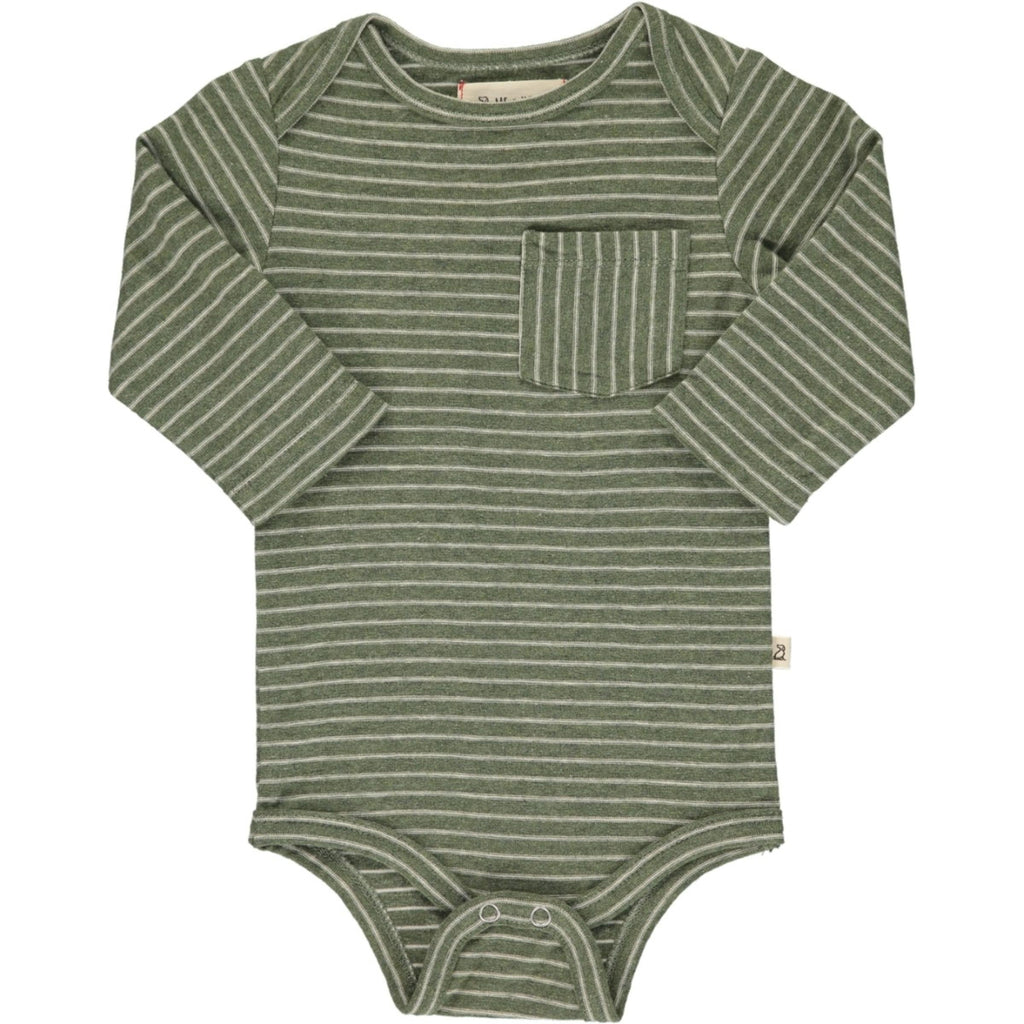 Olive Stripe Pocket Onesie
