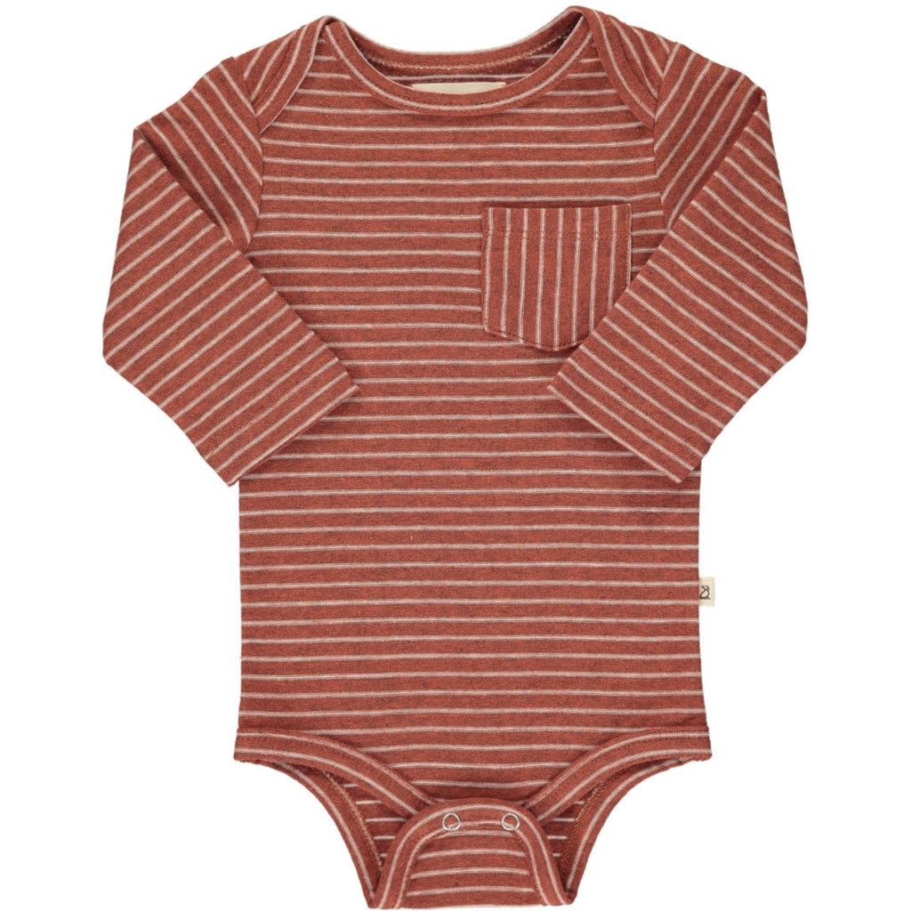 Rust Stripe Pocket Onesie