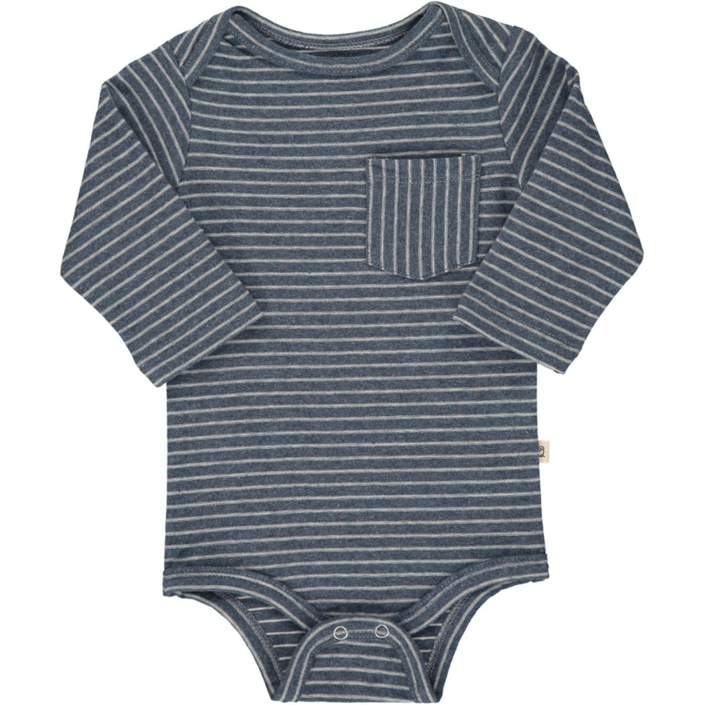 Dark Blue Stripe Pocket Onesie