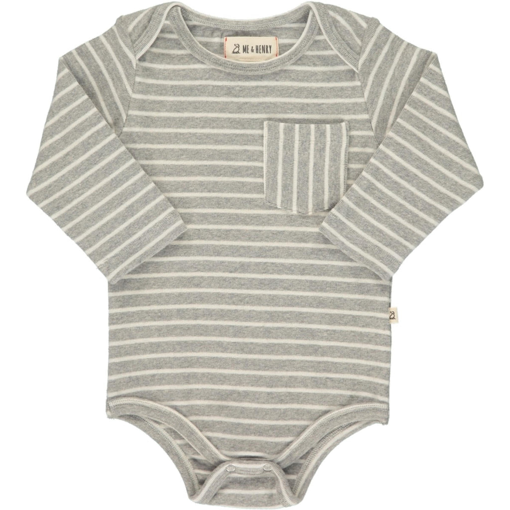 Grey Stripe Pocket Onesie