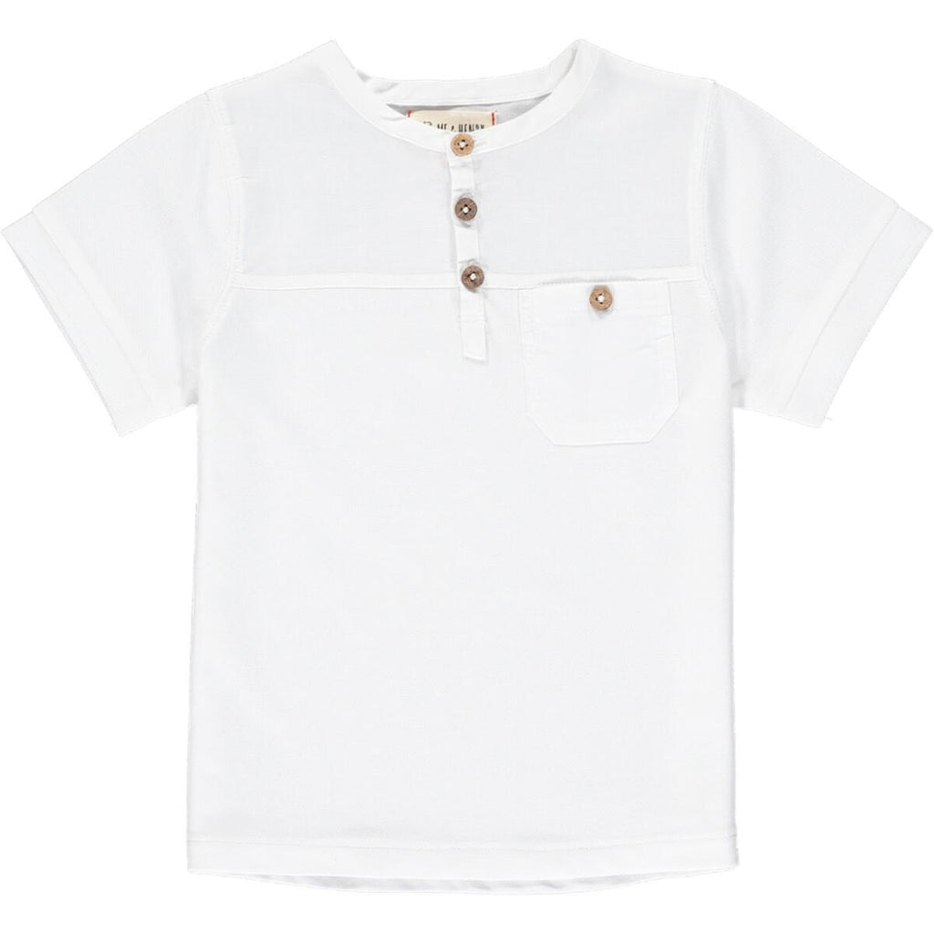 White Boardwalk Pique Henley Shirt