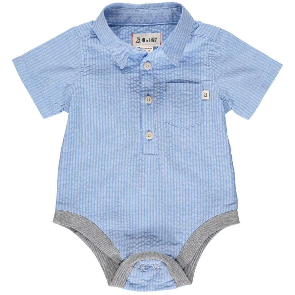 Pale Blue Seersucker Onesie