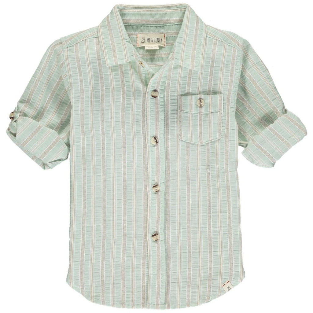 Pale Green Stripe Button Down Shirt