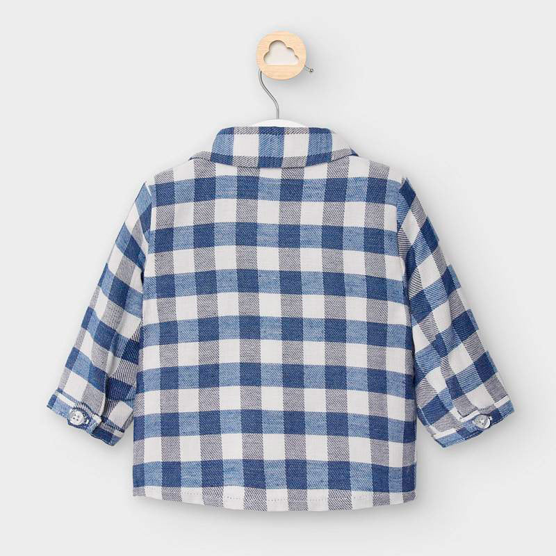 Blue Plaid Layered Button Down Shirt