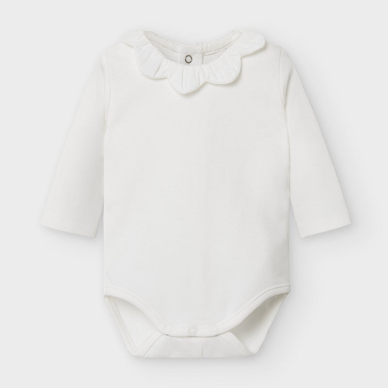 Ivory Long Sleeve Onesie with Scallop Collar