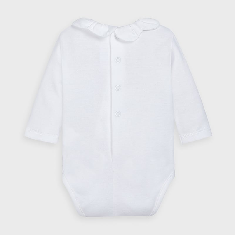White Long Sleeve Onesie with Scallop Collar