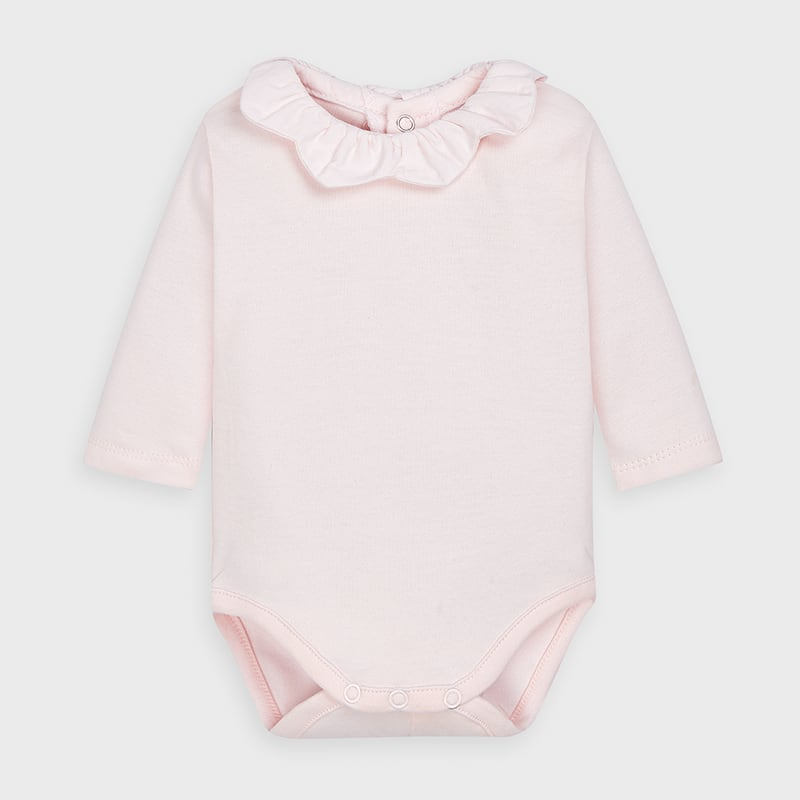 Light Pink Long Sleeve Onesie with Scallop Collar