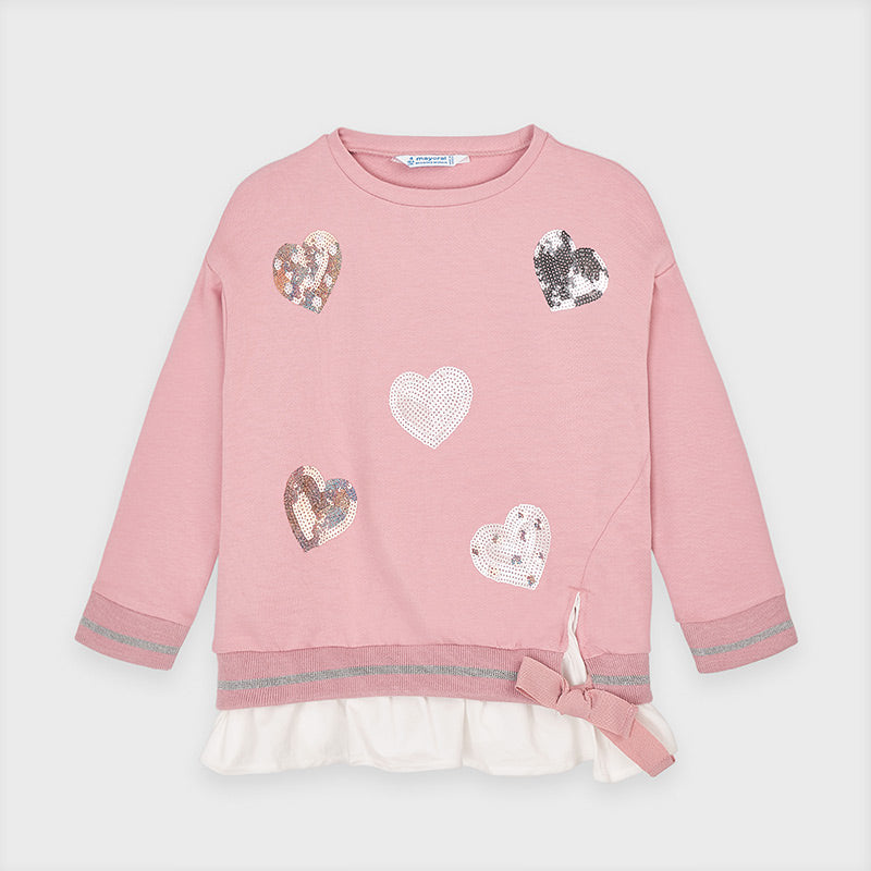 Sequin Hearts Blush Pullover