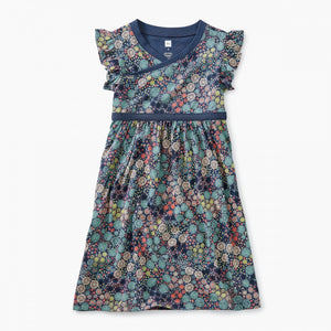 Chrysanthemum Wrap Neck Dress