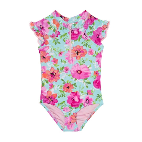 Princess Floral Half Zip Swimsuit