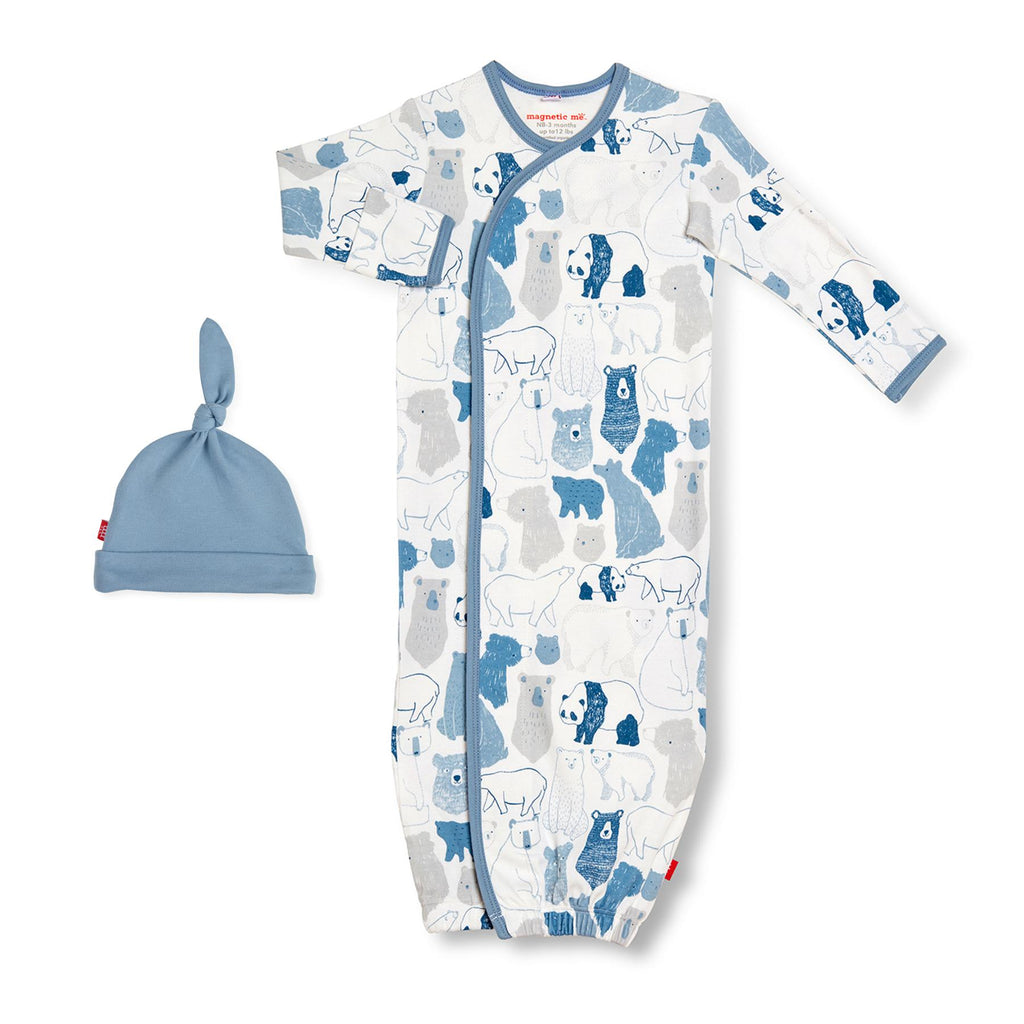 Unbearably Cute Organic Cotton Magnetic Gown & Hat Set (NB-3m)