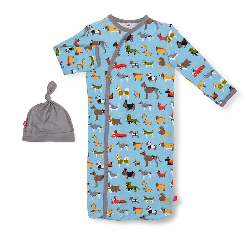 In-Dog-Nito Modal Magnetic Sack Gown & Hat Set (NB-3m)
