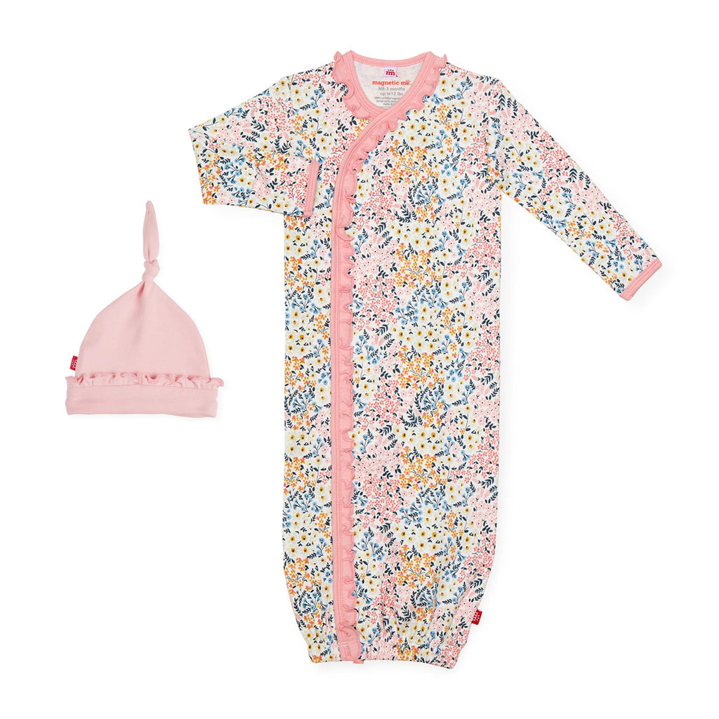 Chelsea Organic Cotton Magnetic Gown & Hat Set (NB-3m)