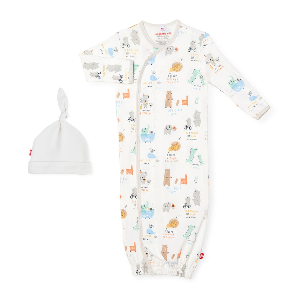 Year of Firsts Organic Cotton Magnetic Gown & Hat Set (NB-3m)
