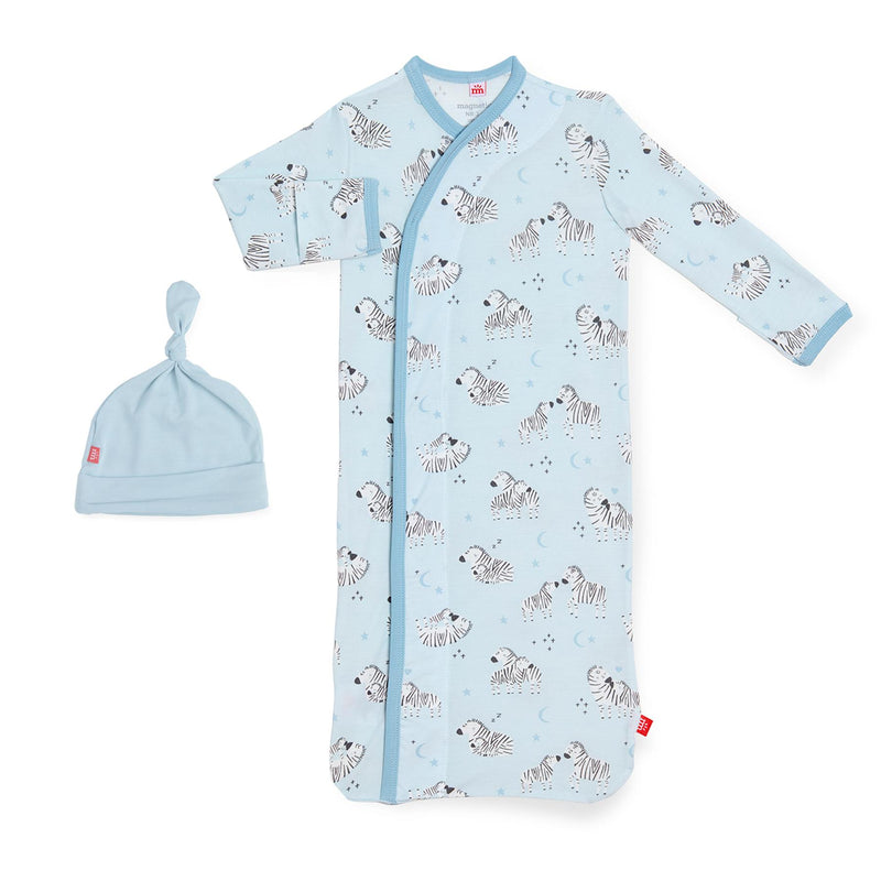 Blue Little Ones Modal Magnetic Sack Gown & Hat Set
