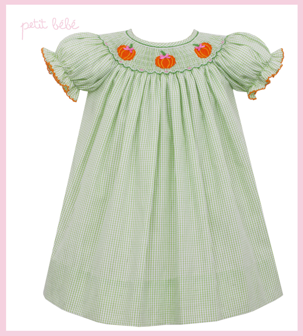 Smocked Green Gingham Pumpkin Bishop Dress
