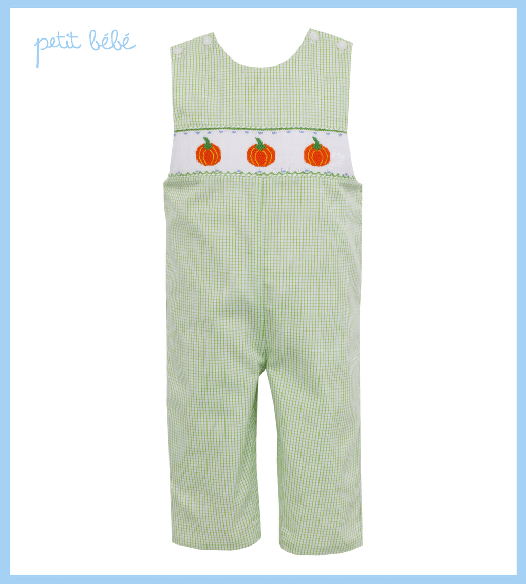 Smocked Pumpkin Lime Green Gingham Jon Jon