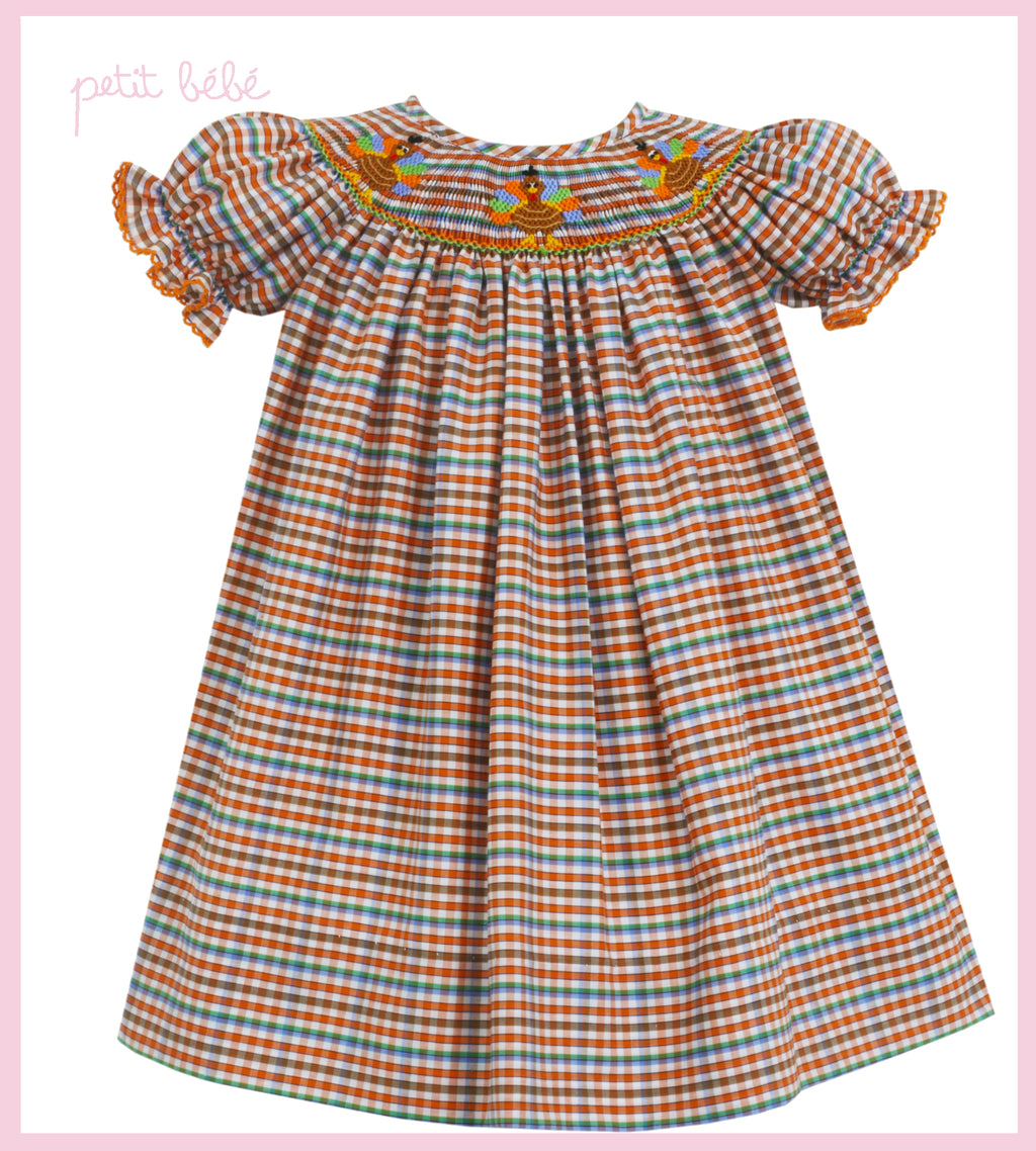 Smocked Plaid Turkey Bishop Dress