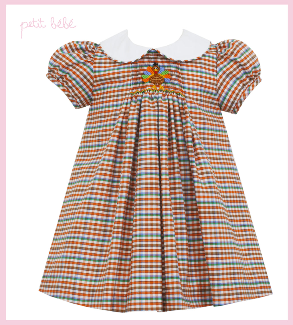 Smocked Plaid Turkey Float Dress