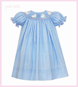 Hop Hop! Smocked Bishop Dress - Blue Micro Check