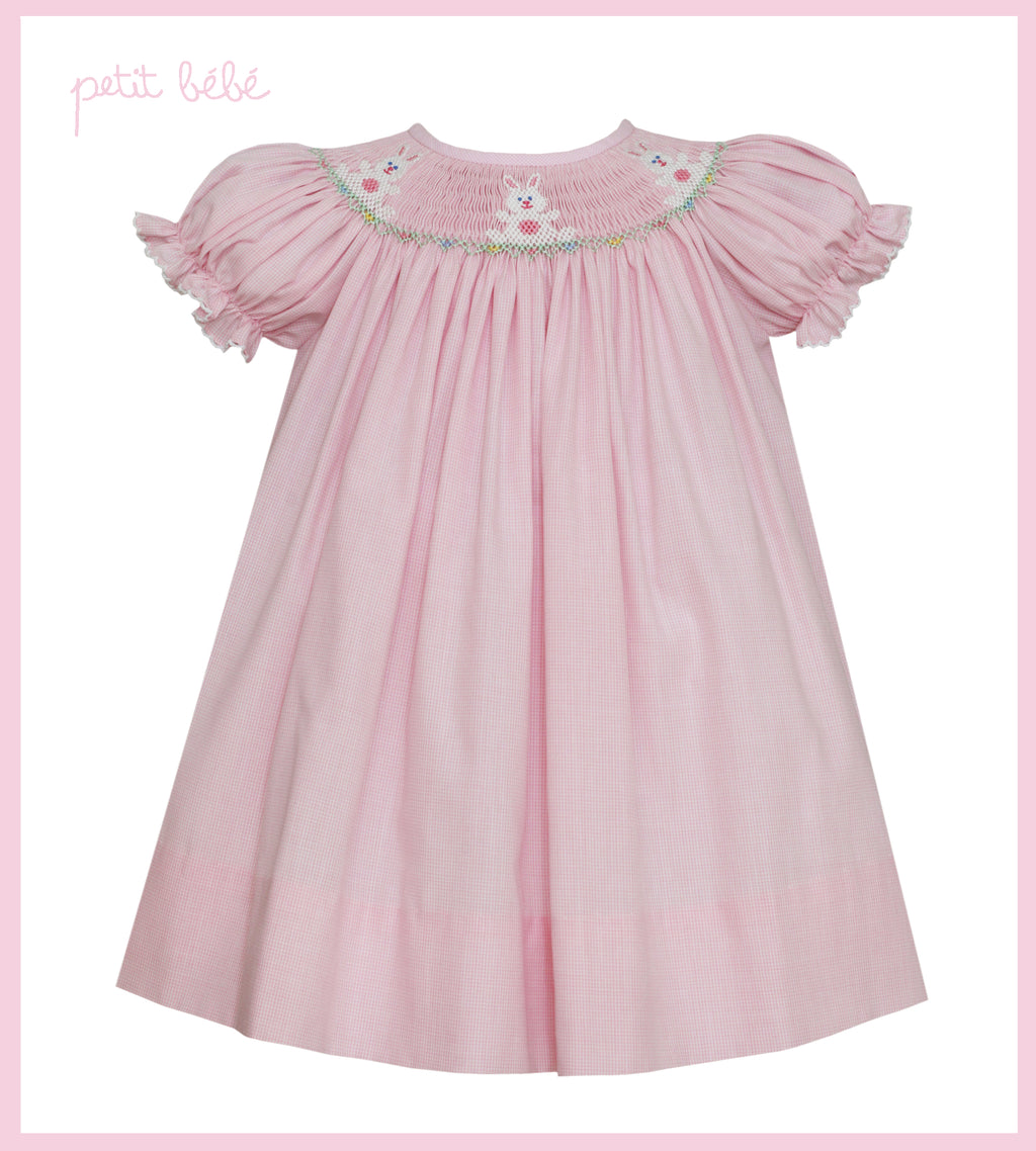 Pink Bunny Bishop Neck Dress
