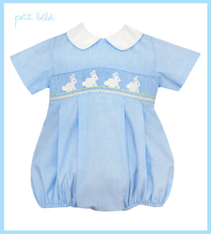 light blue micro check hand smocked bubble