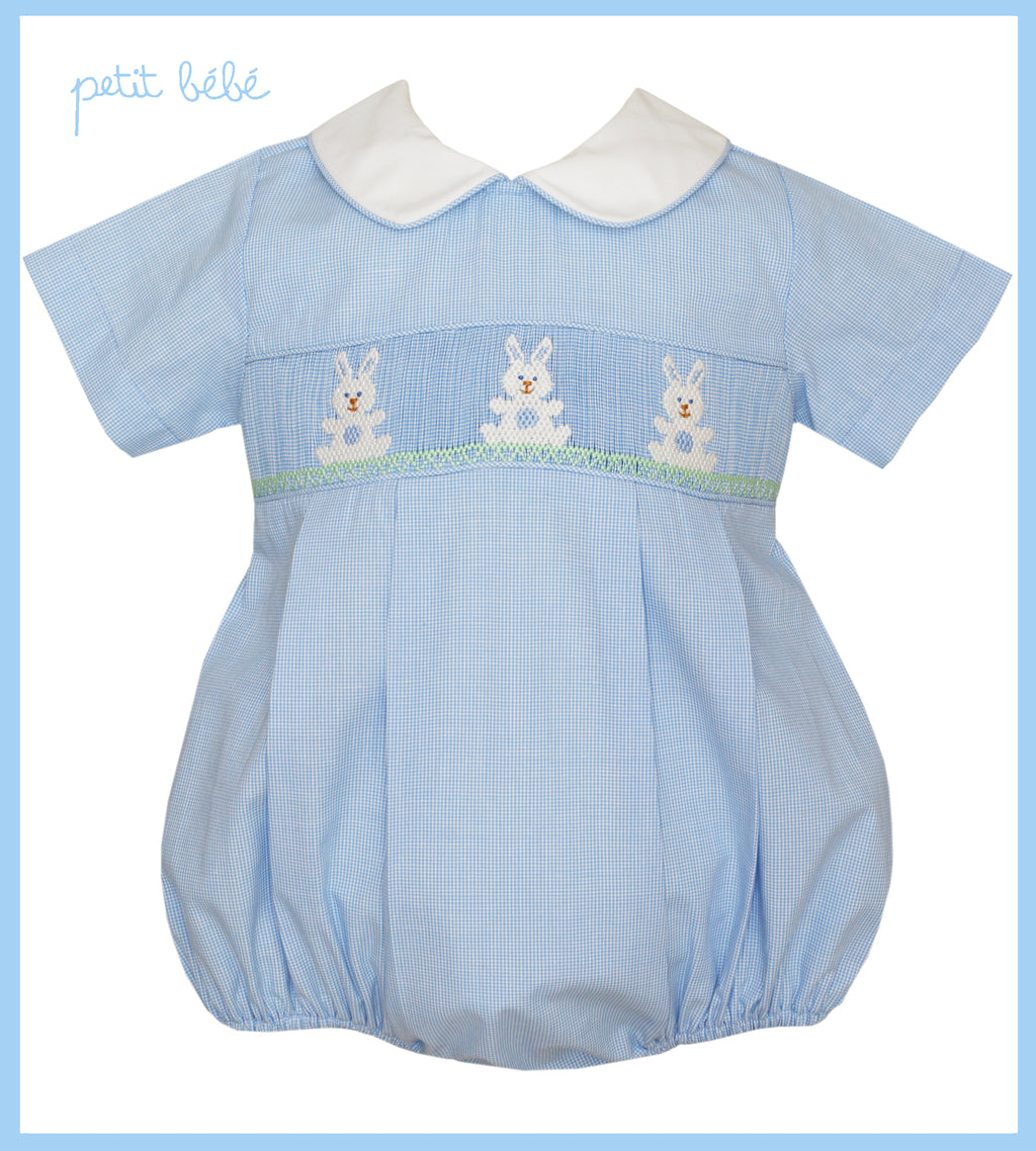 Blue Bunny Smocked Bubble