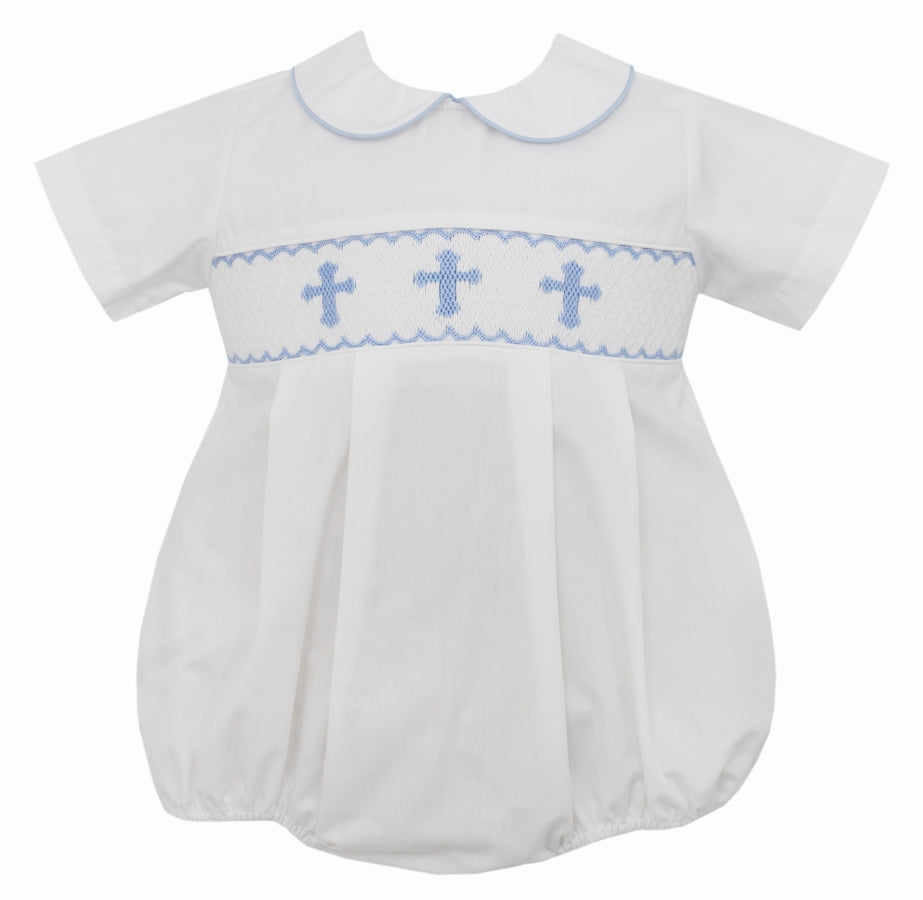 Blue Crosses on Smocked White Bubble
