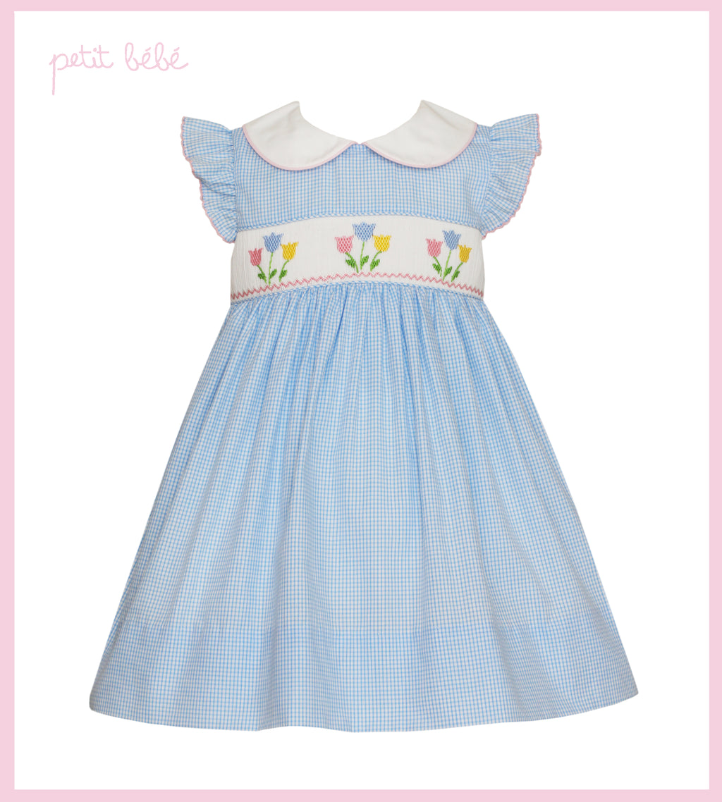 Light Blue Mini Gingham Tulip Smocked Dress
