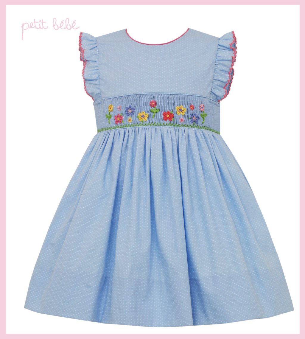 Sophie's Garden Dotted Light Blue Smocked Dress