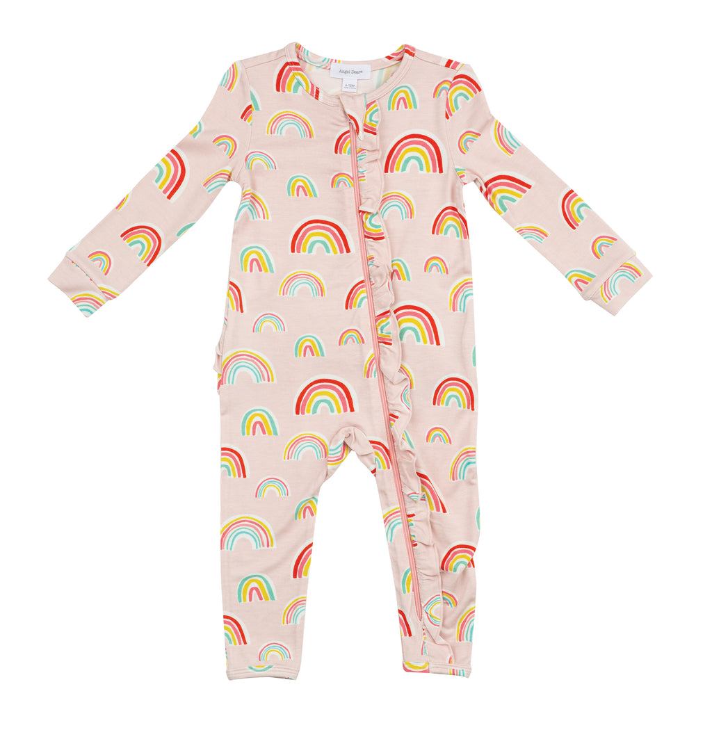 Pink Rainbow Ruffle Zipper Coverall
